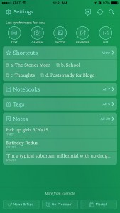 Screenshot of Evernote on my phone.