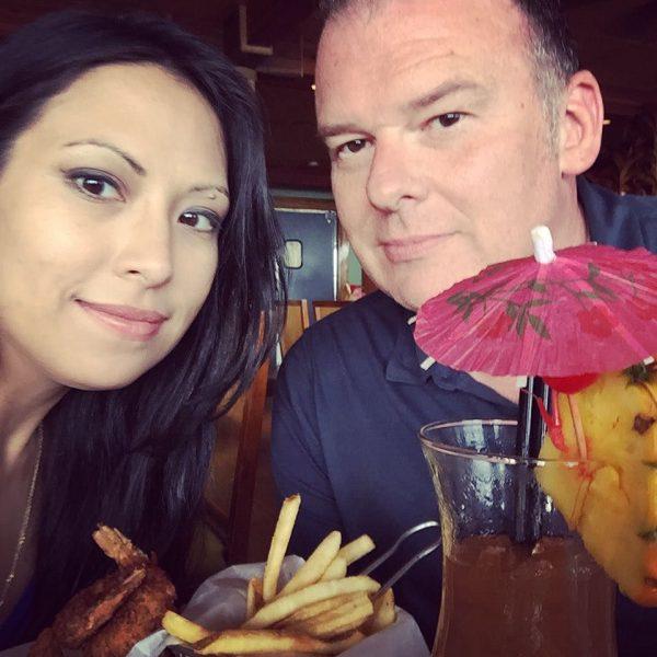 Last_meal__waiting_for_our_flight._Big_ass_drinks__big_ass_shrimp.___Hawaii___honeymoon