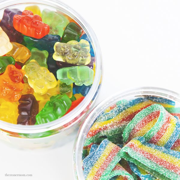 Just CBD gummy bears and rainbow ribbons